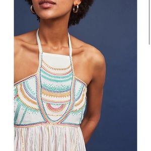 Beautiful Embroidered Anthropologie Halter Top